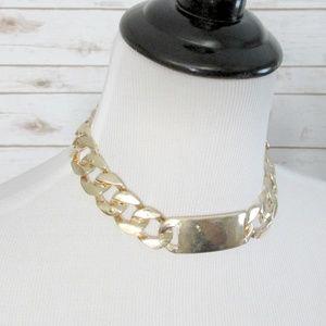 T&J Designs 18k Gold Link ID Choker Necklace
